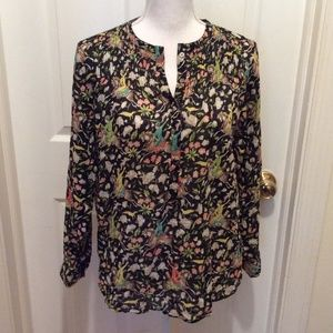 J.Crew Top 6 Black Cream Blue Pink Chinoiserie